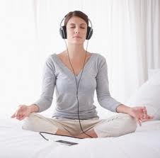 meditation with headphones